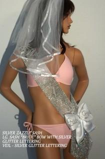 wedding photo - BLINGED out (faux rhinestones) Sash, Bachelorette Party BLING sash, Optional Veil & Sash Bow AVAIL. at add'l cost  By Val's Veils