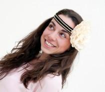 wedding photo - Unst - Headband 20s Style in black, gold and cream