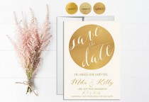wedding photo - Gold Save the Date Invitation Printable, Wedding Save the Date, Digital, Template, Save the date Card, Gold Glitter, Gold Sparkle, Circle