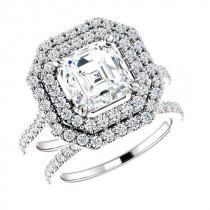 wedding photo - 6.5mm Asscher Forever One Moissanite & Diamond Wedding Set 14k, 18k or Platinum Moissanite Engagement Rings for Women