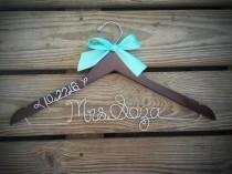 wedding photo - Bridal Hanger with wedding date Bride Hanger with BOW, Multiple Colors, Name Hanger, Wedding Hanger, Personalized Bridal hanger, Bridal Gift
