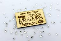 wedding photo - Save the Date Magnet, Mustache and Kiss Lips, MR and MRS, Laser Engraved, Rustic Save the Date, Personalized, Mr & Mrs, Laser Cut, Custom