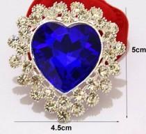wedding photo - Brooch / Rhinestone Brooch / Blue Brooch / Heart Brooch / Brooch Bouquet / Bridal Bouquet / Diamond Brooch / Wedding Bouquet / DIY Wedding