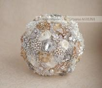 wedding photo - Brooch bouquet. Ivory, Gold and Silver Brooch Bouquet, Bridal bouquet. Quinceanera keepsake bouquet