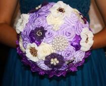 wedding photo - Purple brooch bouquet! Wedding purple bouquet, bouttoniere. Bridal bouquet with bouttoniere. Broach bouquet, wedding