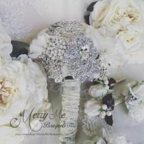 wedding photo - Ivory Bridal Bouquet - Brooch Bouquet - Silk Roses - Bling bouquet - Broach Bouquet - Jeweled bouquet - Gatsby bouquet - White Bouquet