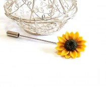 wedding photo - Yellow Sunflower Boutonniere, Rustic Groom Buttonhole, Woodland Lapel pin, Groom Boutonniere, Sunflower Brooch