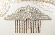 wedding photo - Antique Art Deco Bridal Hair Comb Crystal Rhinestone Fan Downton 1920 Hairpiece Flapper Vintage Wedding Accessory Gatsby Headpiece Edwardian
