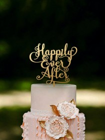 wedding photo - Wedding Cake Topper Happily Ever After Gold or Silver Metallic