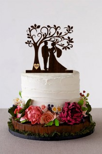 wedding photo - Tree Wedding Cake Topper Personalized Monogram Cake Topper Wooden Rustic Cake Silhouette Cake Topper topper