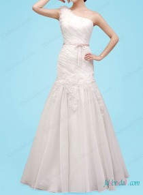 wedding photo - H1453 Beautiful one shoulder a line florals wedding dress