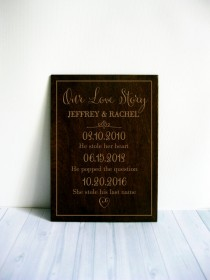 wedding photo - Our love story sign Personalized Wedding Gift Engagement gift Gift for the Bride and Groom Gifts for Couples