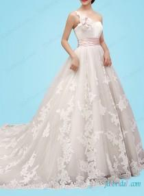 wedding photo - H1454 Feminine one shoulder princess ball gown wedding dress
