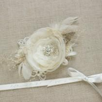wedding photo - Bridal hair flower Bride hair accessory Wedding hair piece Bridal Hair piece burlap hair flower Wedding headpiece wedding hair accessory