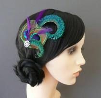 wedding photo - Peacock Feather Hair Clip Purple Fascinator 1920's Flapper Bridesmaids Hair Accessory Crystal Wedding 'Althea'