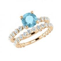 wedding photo - 1.20 ct Aquamarine & 1.35 ct Diamond Engagement Wedding Set, Aquamarine Bridal Sets for Women, Shared Prong Engagement Rings, Diamond Rings