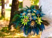 wedding photo - Bridal brooch bouquet  with feather PEACOCK PRIDE  - wedding keepsake made by hairbowswonderworld