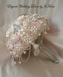 wedding photo - PALE BLUSH PINK Bridal brooch Bouquet - Deposit for a Custom Blush Pink Jeweled Wedding Bouquet, Jeweled Bouquet, Brooch