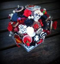 wedding photo - Button Bouquet - Rockabilly Tattoo Deposit
