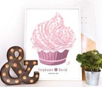 wedding photo - pink cupcake design guest book, wedding guest book alternative, Fingerprint guest book, modern guest book ideas, cake wedding guestbook idea