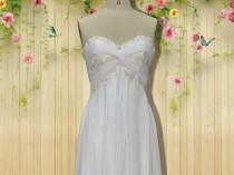 wedding photo - White chiffon prom dress,beach prom dress,beach bridesmaid dress,beach wedding dress, custom for buyer C5602