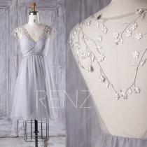 wedding photo - 2016 Light Gray Bridesmaid Dress Short, Mesh V Neck Wedding Dress, Silver Flower Prom Dress, A Line Formal Dress Tea Length (S151)
