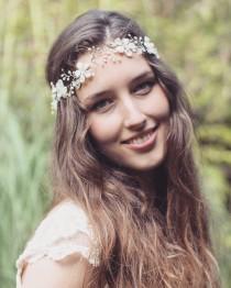 wedding photo - Bridal hair vine, floral headpiece, freshwater pearl hair vine, boho forehead vine, wedding flower hair accessory, bride halo, floral tiara
