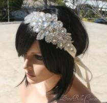 wedding photo - Crystal bridal headband ribbon statement hairpiece bride