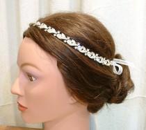 wedding photo - 1920s Bridal Headband Hair Vine Vintage Crystal Rhinestone Downton Abbey Tiara Wreath Chain Art Deco Flapper Great Gatsby Wedding Halo Band