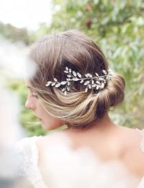 wedding photo - Bridal headpiece, Swarovski crystal hair vine, demi halo, hair accessories, back of head, boho wedding, crystal leaves, sparkly wreath