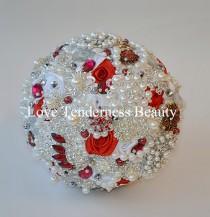 wedding photo - red & white wedding brooch bouquet, silver wedding bouquet, bridal bouquet,jewelry bouquet,broach bouquet,rhinestone bouquet,crystal bouquet