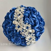 wedding photo - Wedding Bouquet, Blue White and Silver Wedding Brooch Bouquet, Royal Blue Bridal Bouquet, Jewelry Bouquet, Broach Bouquet, Crystal bouquet