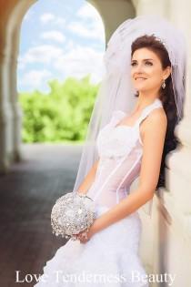 wedding photo - Wedding Accessories, Brooch Bouquet, White and Silver Wedding Brooch Bouquet, luxury Bridal Bouquet, Jeweled Bouquet, wedding decor