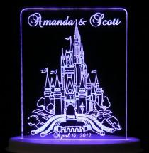 wedding photo - Fairytale Castle Wedding Cake Topper  - Engraved & Personalized - Light Extra