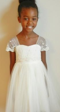 """wedding photo - Ivory Flower Girl Dress, Shabby Chic, Organic Cotton and Embroidered Lace Girl Dress, """"Victoria"""", 2T - 16, KNEE, TEA or FLOOR lengths"""