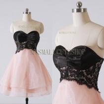 wedding photo - Black and pink prom dress,Organza bridesmaid dress,Knee-length formal dress,Sweetheart party dress,evening dress,A-line Homecoming dress
