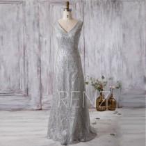 wedding photo - 2016 V Neck Bridesmaid Dress Long, Silver Wedding Dress, V Back Prom Dress, Women Formal Dress, Cocktail Dress Floor Length (G191)