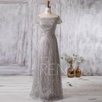 wedding photo - 2016 Silver Lace Bridesmaid Dress Long, Short Sleeves Wedding Dress, Off Shoulder MOB Dress, Mother of Bride dress, Sequin Dress (GL183)