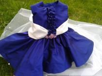 wedding photo - Baby dress special occasion , girl dress wedding flower girl , girl dress elegant occasion , baby royal blue dress , baby 24 months dress