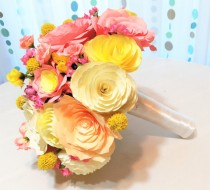 wedding photo -  Paper flower bouquet, Coral and peach wedding bouquets, Yellow garden wedding bouquet, Alternative bouquet, Bridal bouquet, Toss bouquet