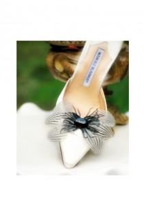 wedding photo - Black White Stripes Shoe Clips Bow & Oval Gem. Couture Statement Bridal Bride Bridesmaid, Gossip Girl Spring, Elegant Boudoir, Birthday Gift