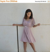 wedding photo - Fall Sale Blush evening knee length dress, lace sleeves top ,full circle skirt