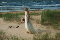 wedding photo - Cream tulle and lace strapless bridal gown, maternity wedding dress- made by your measurments