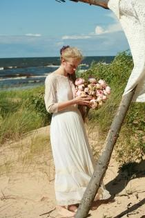 wedding photo - Cream tulle and peach lace bridal gown,wedding dress - made by your measurments