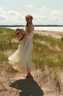 wedding photo - Cream, butter silk chiffon,viscose, lace bridal gown, boho wedding dress - made by your measurments