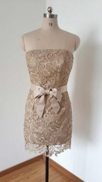 wedding photo - Strapless Lace Short Bridesmaid Dress 2015