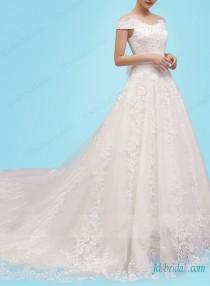 wedding photo - Fairytale off shoulder lace princess ball gown wedding dress