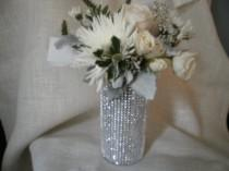 wedding photo - Rhinestone Crystal Ribbon Bouquet Vases Centerpiece bling wedding vases Set of (10)