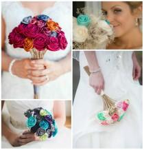 wedding photo - Custom Bridal Ribbon Rose Bouquet - 100% made to order!
