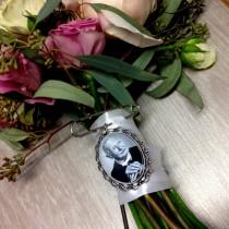 wedding photo - Custom Bridal Bouquet Charm/Pendant - Wedding Keepsake - In Memory - Loss of a Loved One - For the Bride- Photo Jewelry - Gift